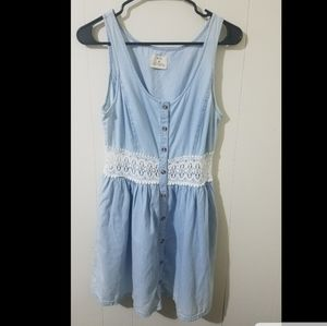 Pins And Needles Demin Dress With Lace snd Buttons